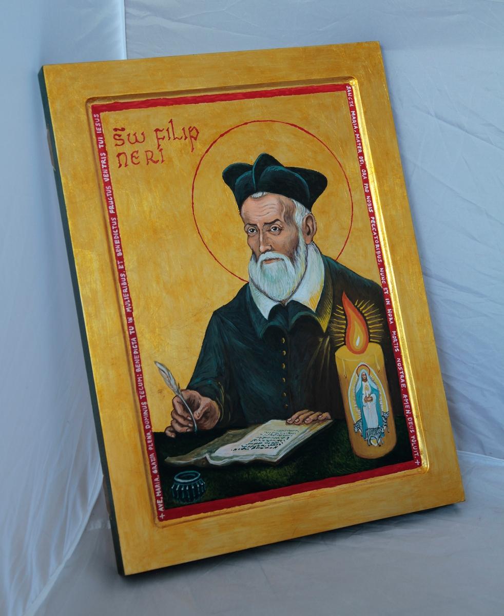 Ikona Św. Filipa Neri ze świecą gromniczną.