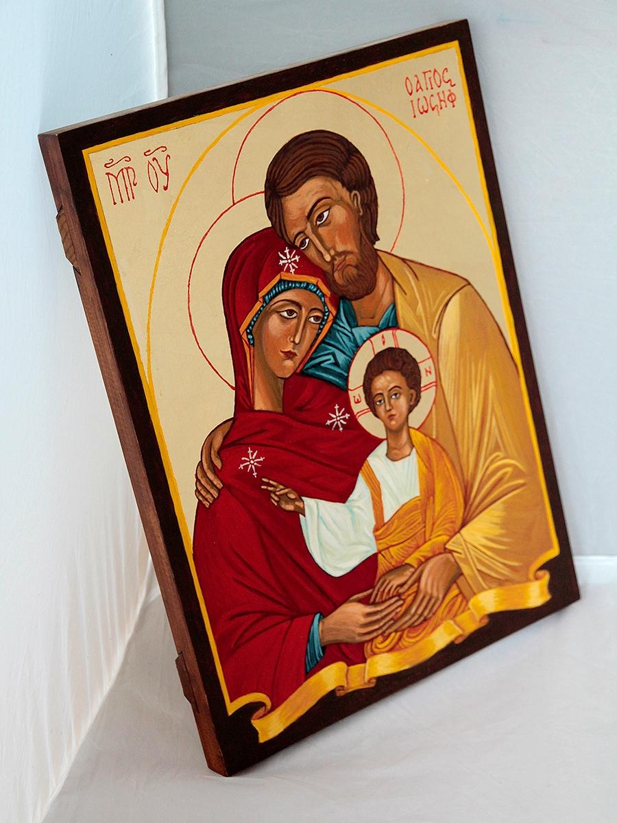 Święta Rodzina - płaska deska brązowa ramka.
